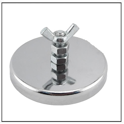 Ferrite/Low Carbon Steel Round Base Magnet Fastener with Bolt and Wing Nut