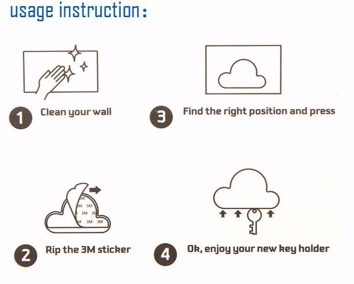 Cloud Magnetic Key Holder Suck Rack Magnetic Hanger Installtion