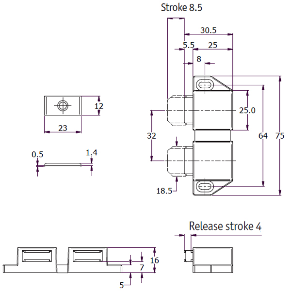 Double Rectangle Magnetic Touch Latch drawing