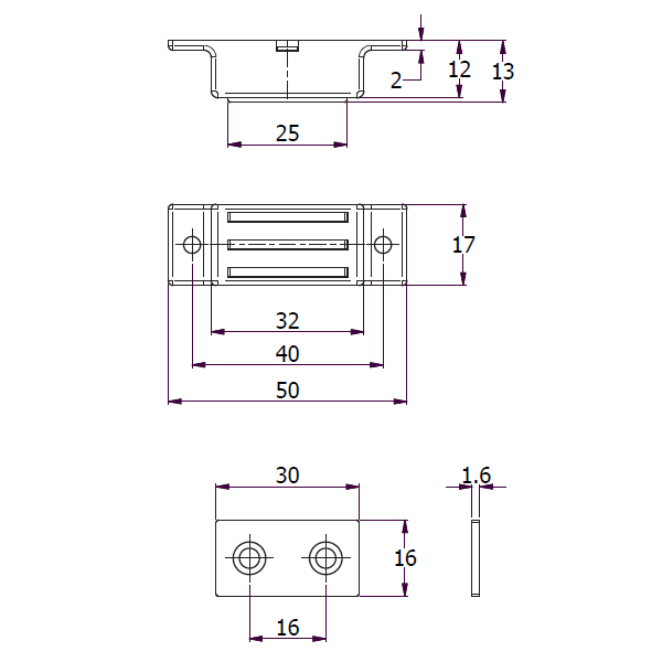 Economy Heavy Duty Magnetic Catch drawing