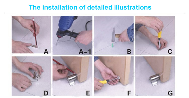 Magnetic Door Stop Catch Holder installation detailed illustrations
