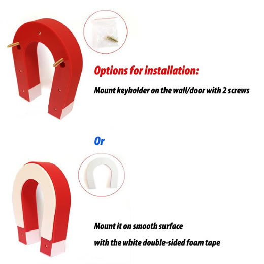 Red U-shaped Magnetic Key Holder Option for Installation