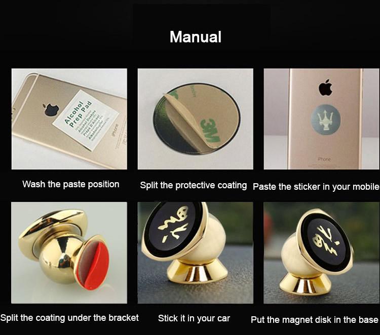 Small 360 Degrees Mobile-phone Holder Magnet installation