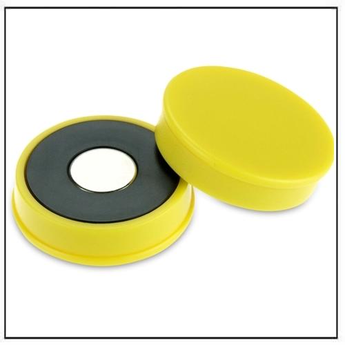 Yellow Strong Neodymium Round Magnet in Plastic Housing