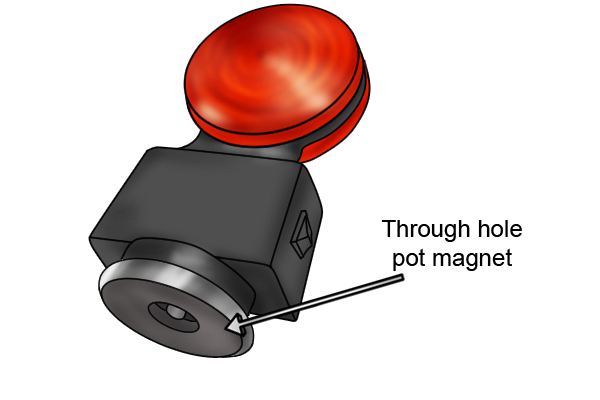 through hole pot magnet attached to Tow light kit