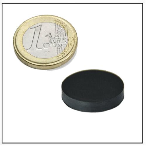 Ø 20 x 4 mm Black Rubber Coated Round Neodymium Magnet