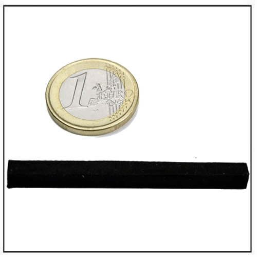 57 x 5 x 5 mm Rubber Coating Long Block Neodymium Magnet Black