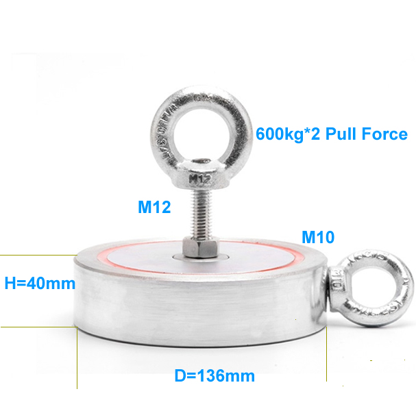 600kg Pull Power Two-Sides Search Custom Neodymium Eyebolt Magnet size drawing