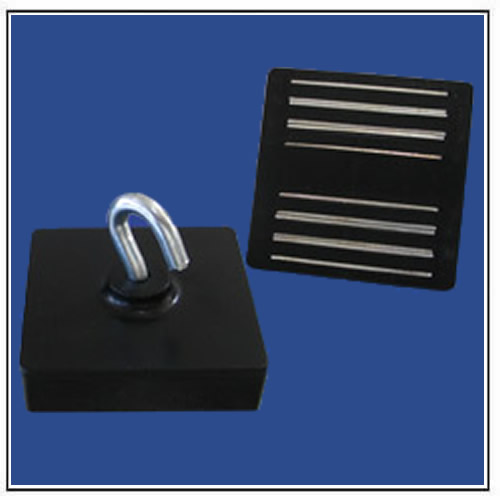Ceiling Magnets Rectangular with Hook, Black Plastic Body