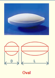 Egg Shaped Magnetic Stir Bars PTFE drawing