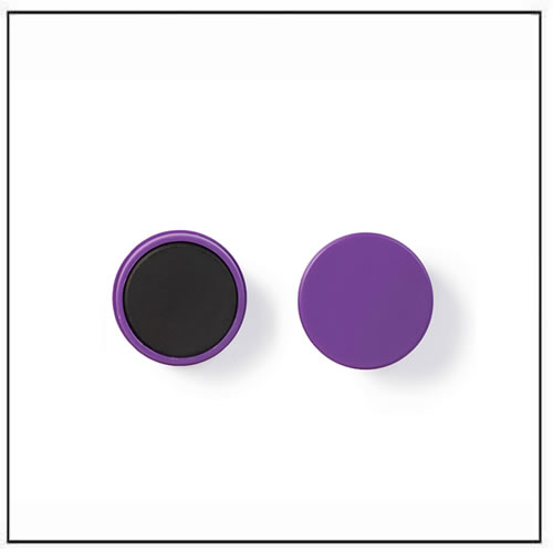 Round Ferrite Magnets in Purple Plastic Housing