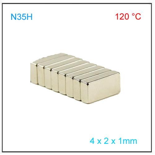 Axial NdFeB Block Sensor Magnet N35H 4x2x1mm