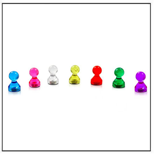 Clear Acrylic Magnetic Push Pins Assorted Colors Ø11 mm x 17mm