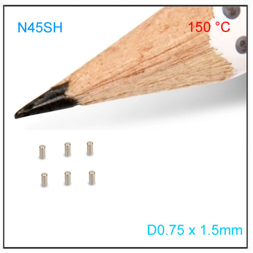 D0.75x1.50mm N45SH Thin NdFeB Axial Magnet