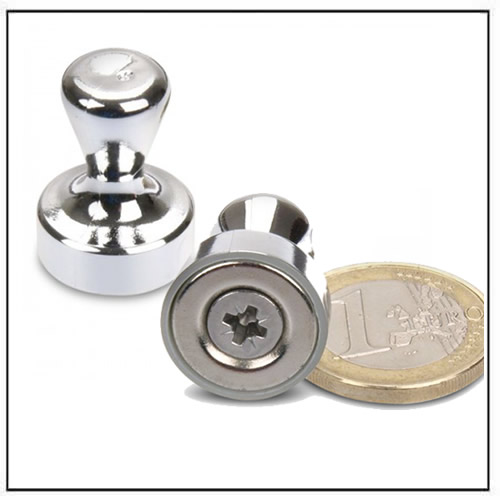 Neodymium Pin Magnet Silver Ø17 x 22mm