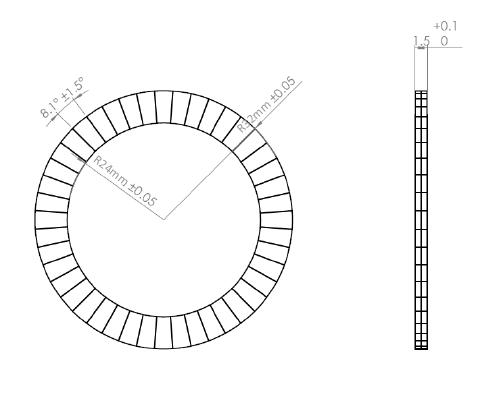 Strontium Ferrite Multipole Ring Magnet 72 poles drawing