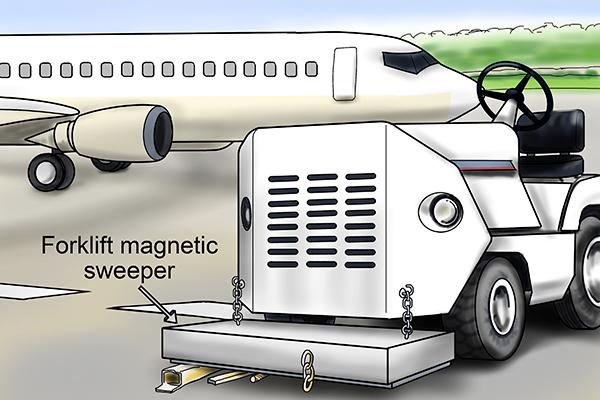 Eyebolt forklift magnetic sweeper application