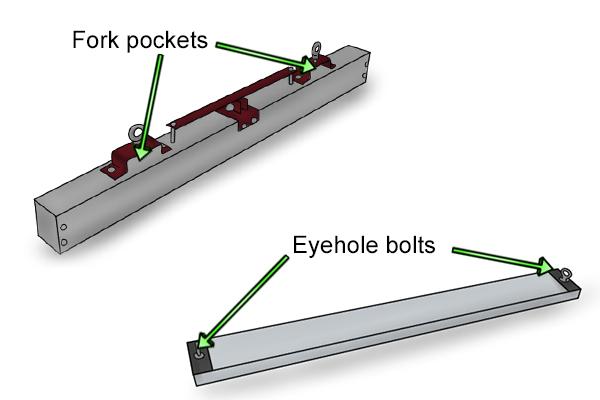 eye bolt and fork pocket forklift magnetic sweepers