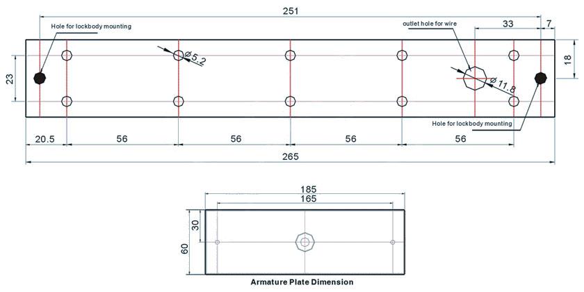1200lbs-single-door-magnetic-lock-dimension-drawing