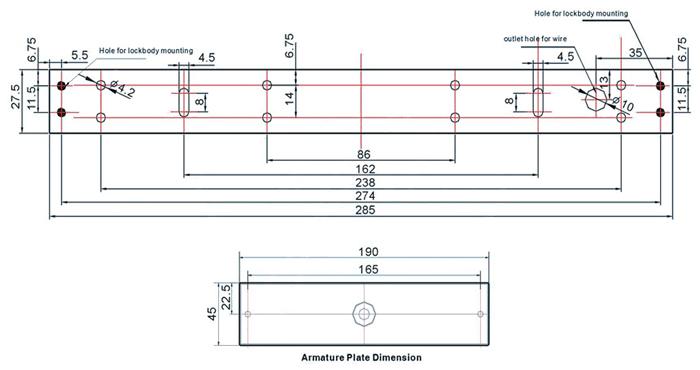 electromechanical-locks-with-buzzer-single-door-dimension-drawing