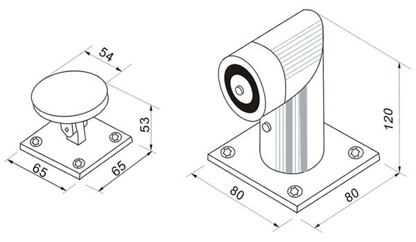floor-mount-door-holder-technical-parameter-drawing