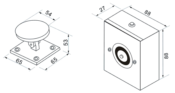 mortise-mounted-door-holder-technical-parameter-drawing