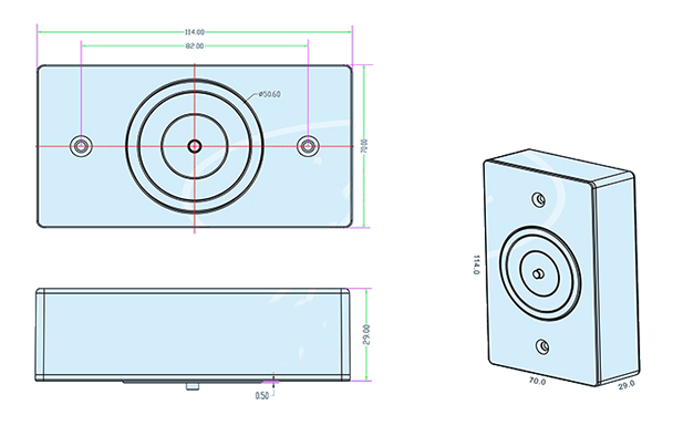 smokeproof-magnetic-door-holder-technical-parameter-drawing