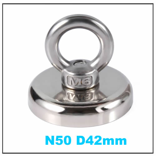 N50 Recovery Round NdFeB Holding Magnet w Eyebolt Ring