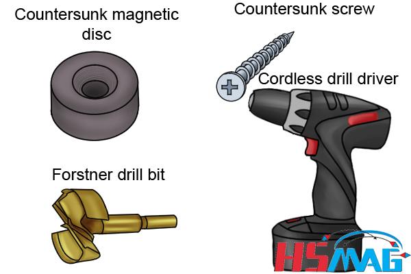 attach a countersunk magnetic disc