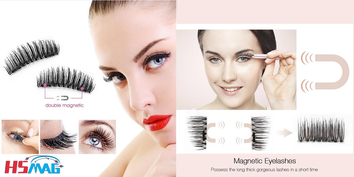Reusable False Magnetic Eyelashes on Magnet