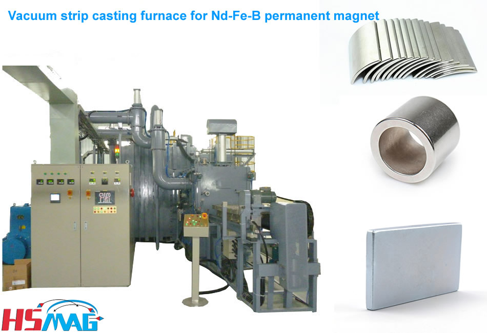 Vacuum strip casting furnace for Nd-Fe-B permanent magnet