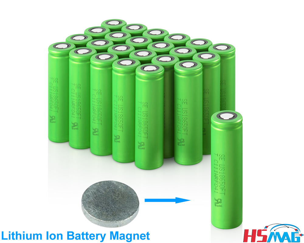magnetic connector tab for flat-top li-lon Lithium ion battery