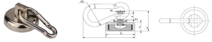 Magnetic Carabiner Hook Size