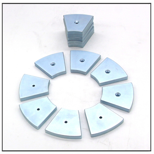 Zinc Plated Arc Lift Motor Magnets With Countersunk Hole