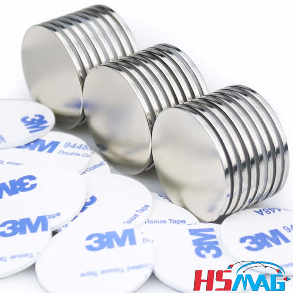Double-Sided Adhesive Strong Neodymium Disc Magnets 1.26D x 0.08H
