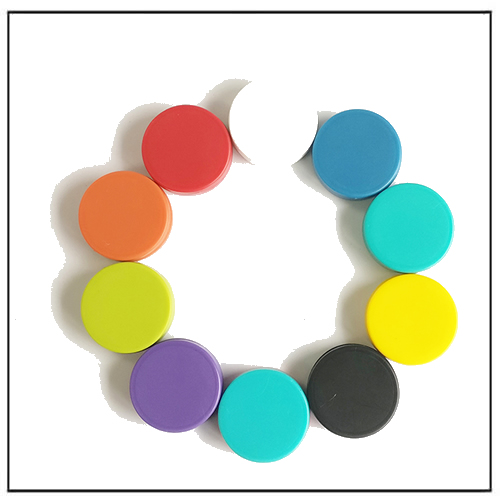 Colorful Plastic Cover Round Ceramic Button Magnets