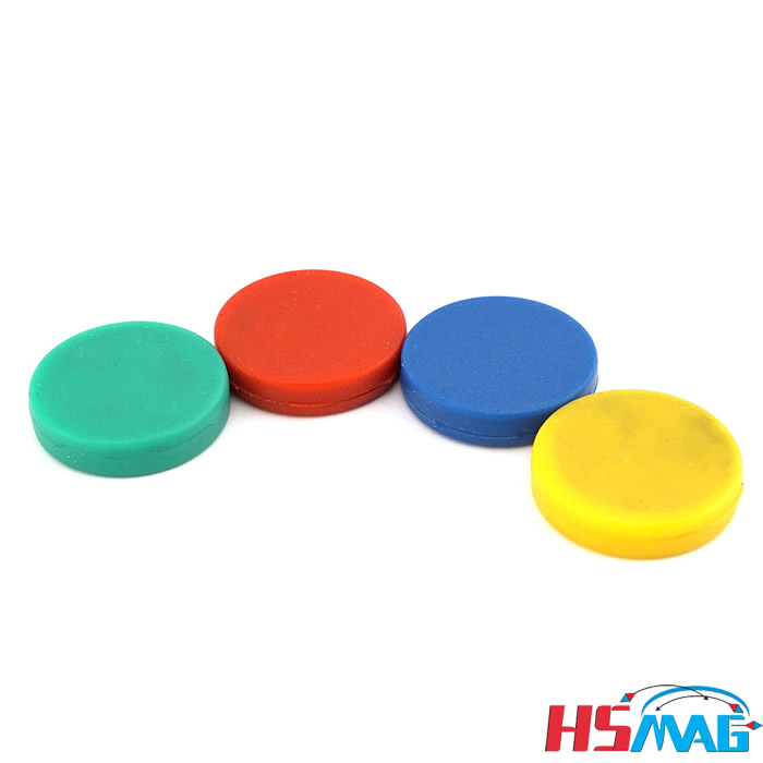Colorful Rubber Coated Ceramic Disc Magnets Red, Blue, Green, Yellow