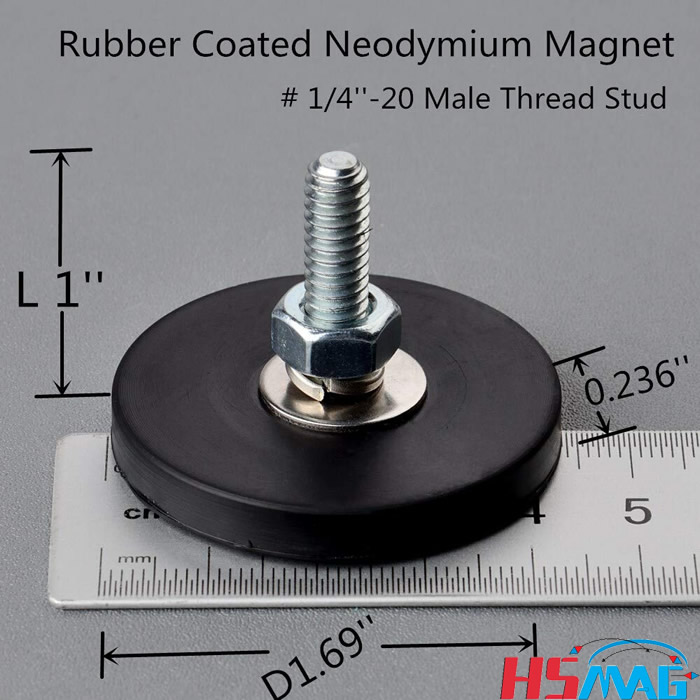 Neodymium Magnet Base with Rubber Coating