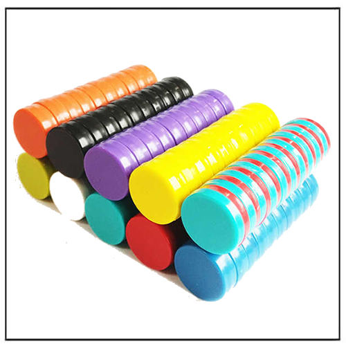 Plastic Coated Strong Disc Magnets Colored Magnetic Buttons