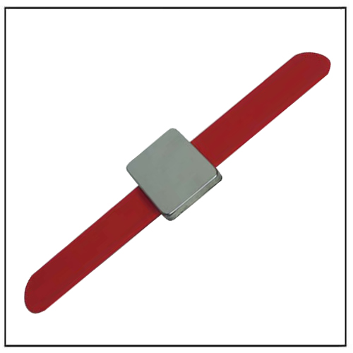 Red Magnetic Pin Wristband Wrist with Square Neo Magnet