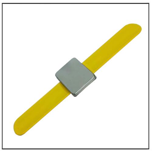 Yellow Wrist Strap Magnetic Hair Pin Holder Silicone Slap Bracelet