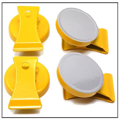Refrigerator Magnetic Memo Clip Organizer Yellow