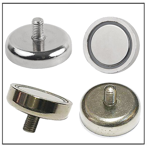 China Neodymium Pot Magnets with External Threaded Stud