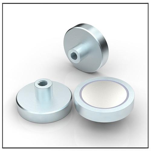 NdFeB Flat Pot Magnet with Internal Threaded Bush