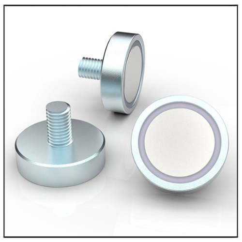 Neodymium Pot Magnet Gummed with External Thread for Screwing