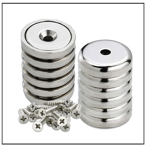 Round Base Holding Pot Magnet with Countersunk Screw Hole