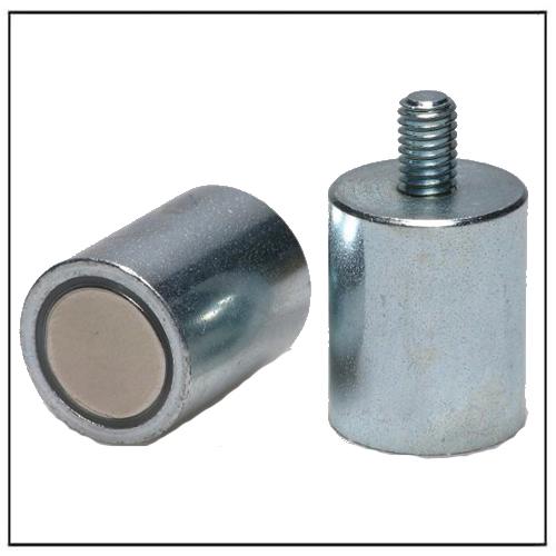 Anisotropic Cylinder Bar Deep Pot Magnet NdFeB with External Threaded Stud