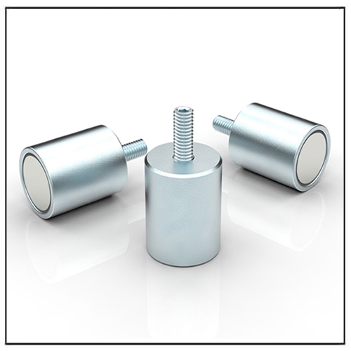 Anisotropic Pot Magnet Cylindrical with Threaded Neck, NdFeB Galvanized Body