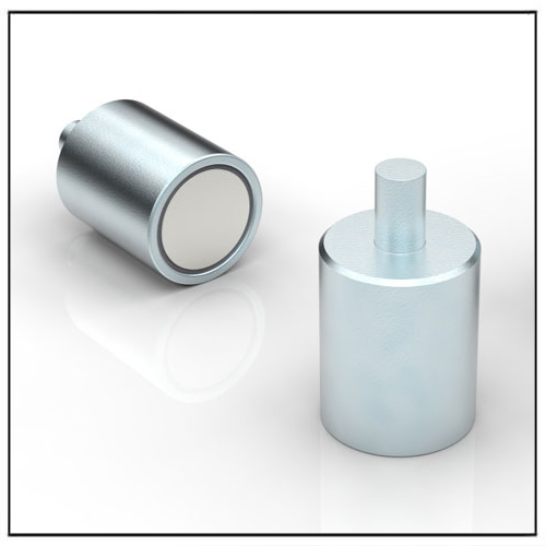 Cylindrical NdFeB Deep Pot Magnet with Threaded Neck
