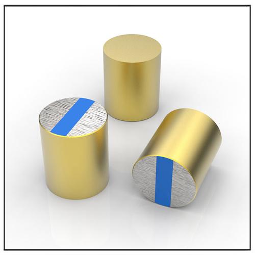 NdFeB Deep Pot Magnets with Brass Body, Blue Epoxy